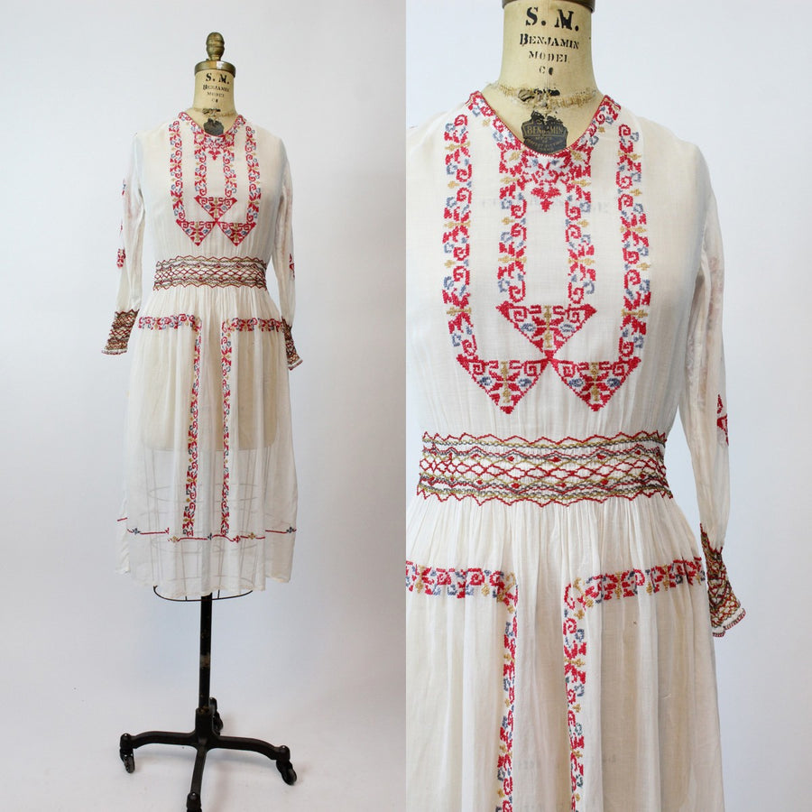 1920s hungarian peasant dress xs | vintage embroidered dress