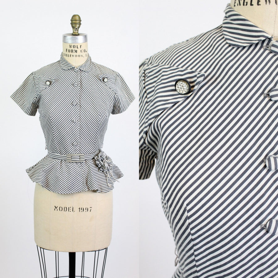 1940s striped blouse xs | vintage peplum cotton top belted | new in