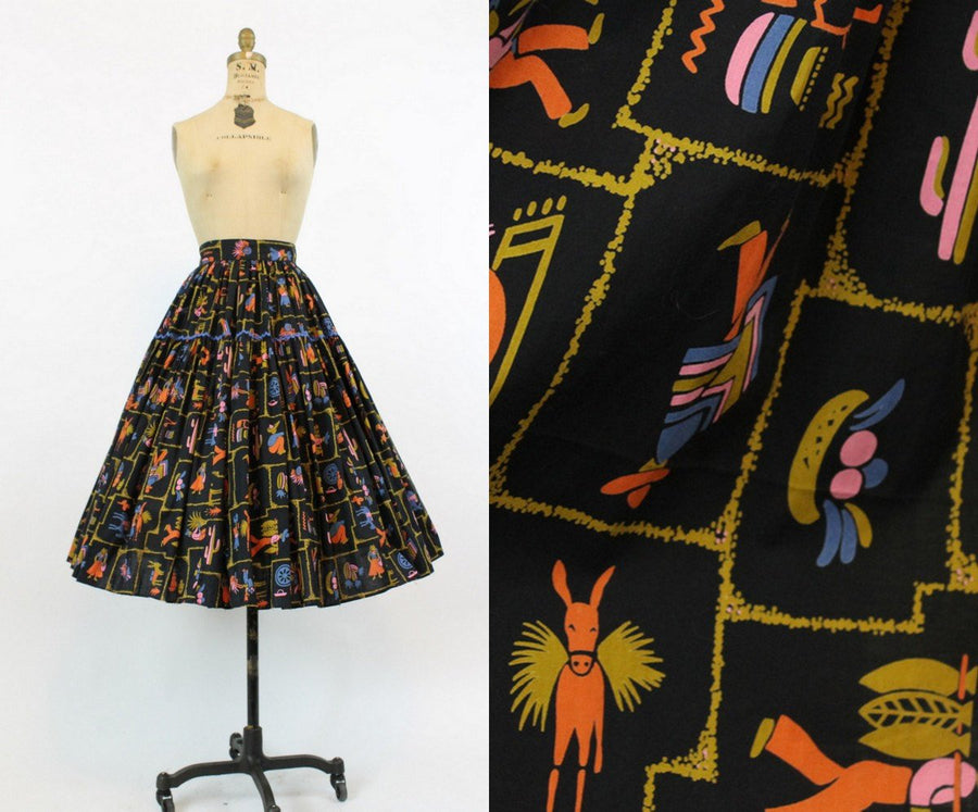 1950s novelty print skirt | vintage fiesta burro cotton full skirt | xs