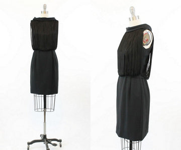 1960s looped fringe dress xs | vintage cocktail dress