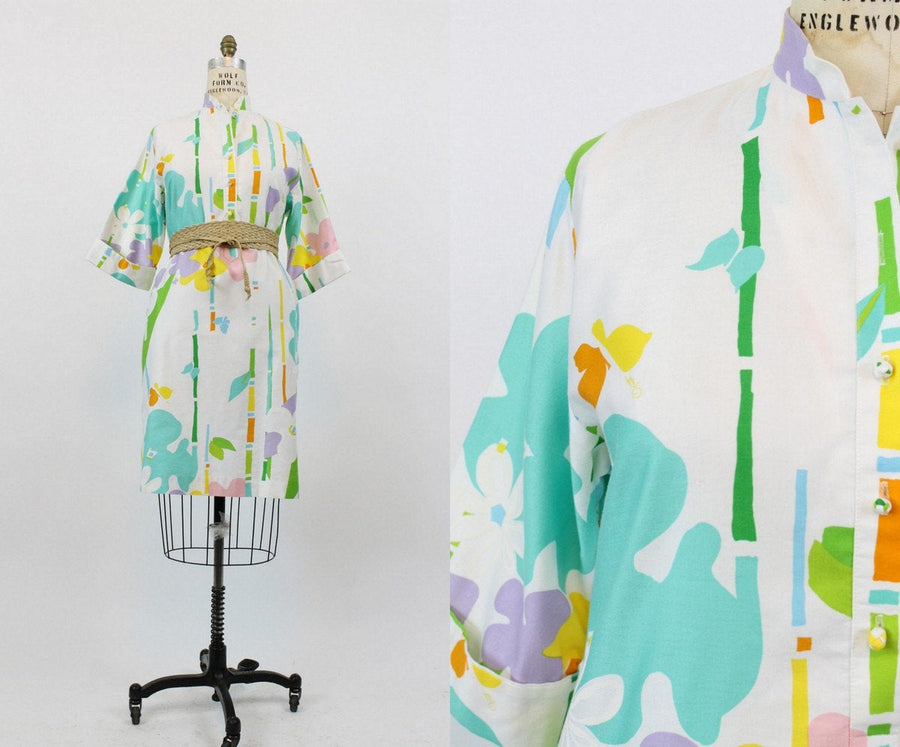 1960s  Catherine Ogust dress medium | vintage abstract cotton shift dress | new in
