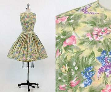1950s floral dress xxs | vintage cotton full skirt | new in