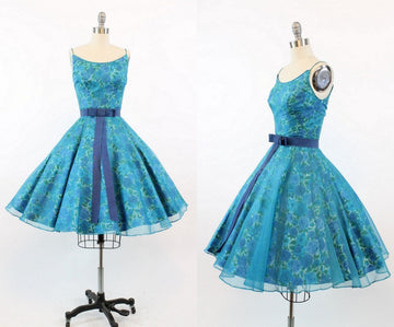 1950s Jonny Herbert blue rose dress | vintage organza and cotton cocktail dress| xxs