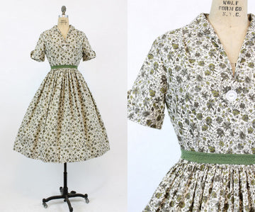 1950s floral cotton dress | Mode O'Day vintage shirtwaist | medium