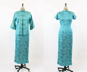1950s Cheongsam dress | silk asian print maxi | small