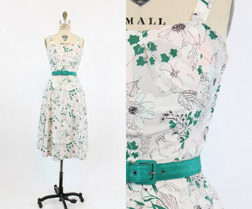 50s Dress Floral Cotton XS / 1950s Dress Sundress /  Vines and Magnolia Dress