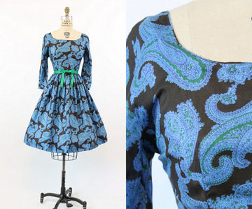1950s silk dress | Jeanne D' Arc  paisley | small