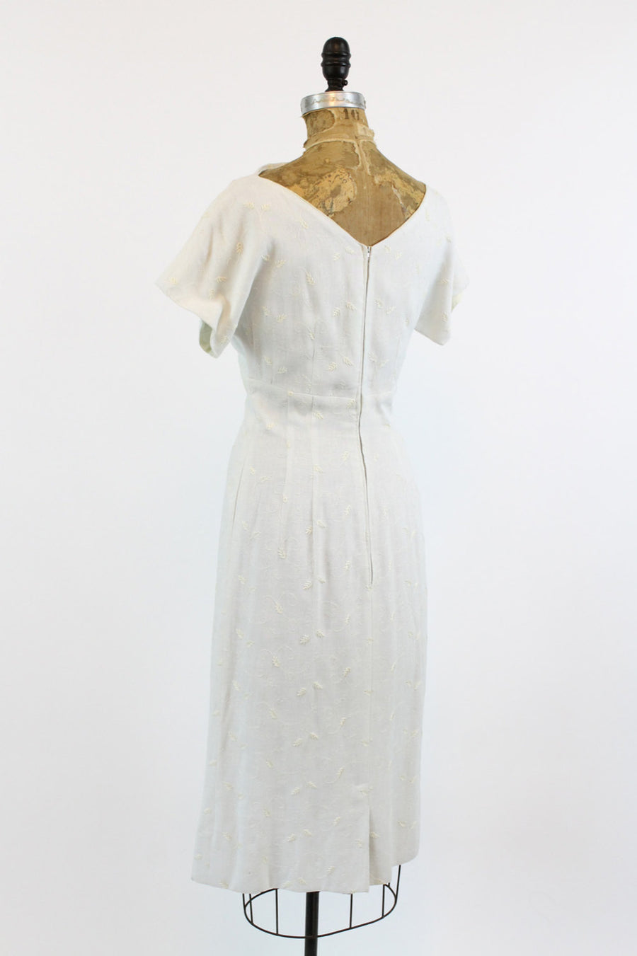 1950s embroidered linen wiggle dress | small
