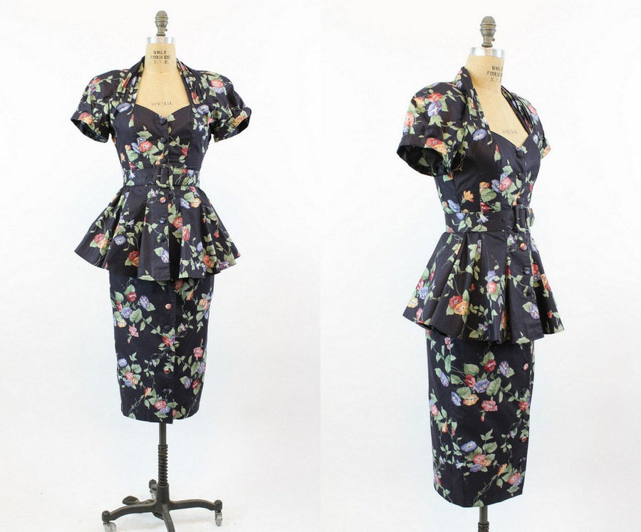 1980s Karen Alexander floral 2 piece set small |  1980s does 1940s peplum dress