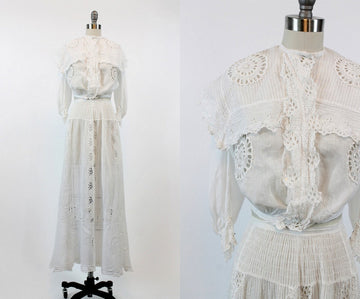 vintage Edwardian two piece suit xs | antique cotton eyelet lace outfit