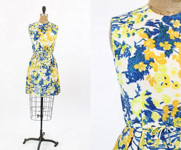 1960s I Magnin silk floral dress xs | vintage shift dress