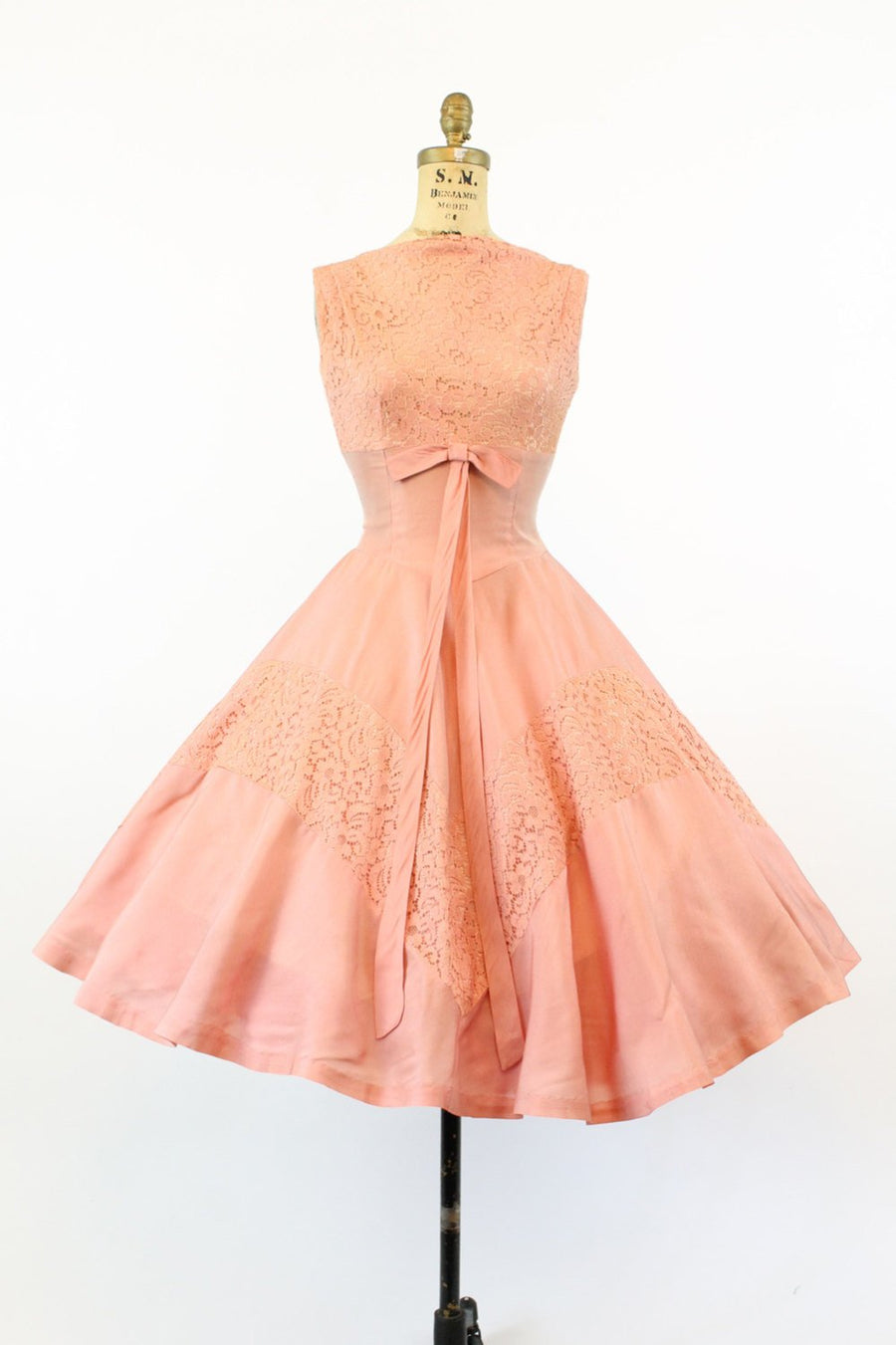 1950s organza dress | floral lace fit and flare | xs
