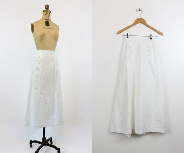 1910s Edwardian linen skirt xs | antique nautical long walking skirt