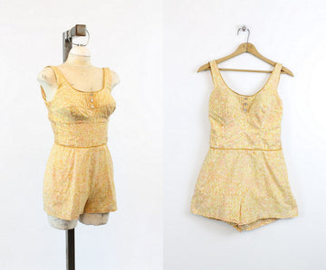 1960s Jantzen swimsuit small | vintage cotton maillot romper playsuit