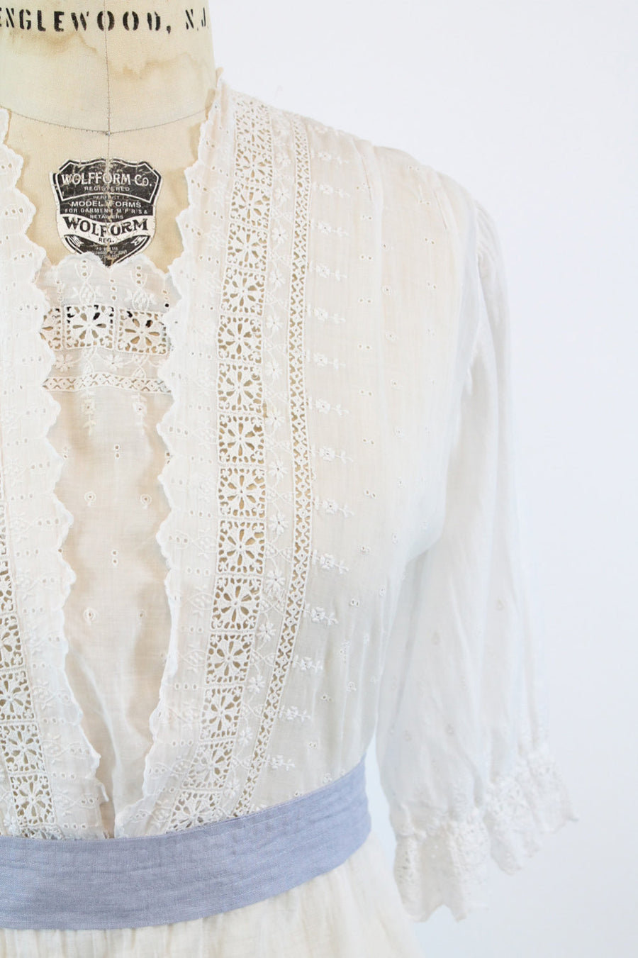 1910s Edwardian Dress Medium Large /  Antique Cotton Lace Dress /  Windsor Square Dress