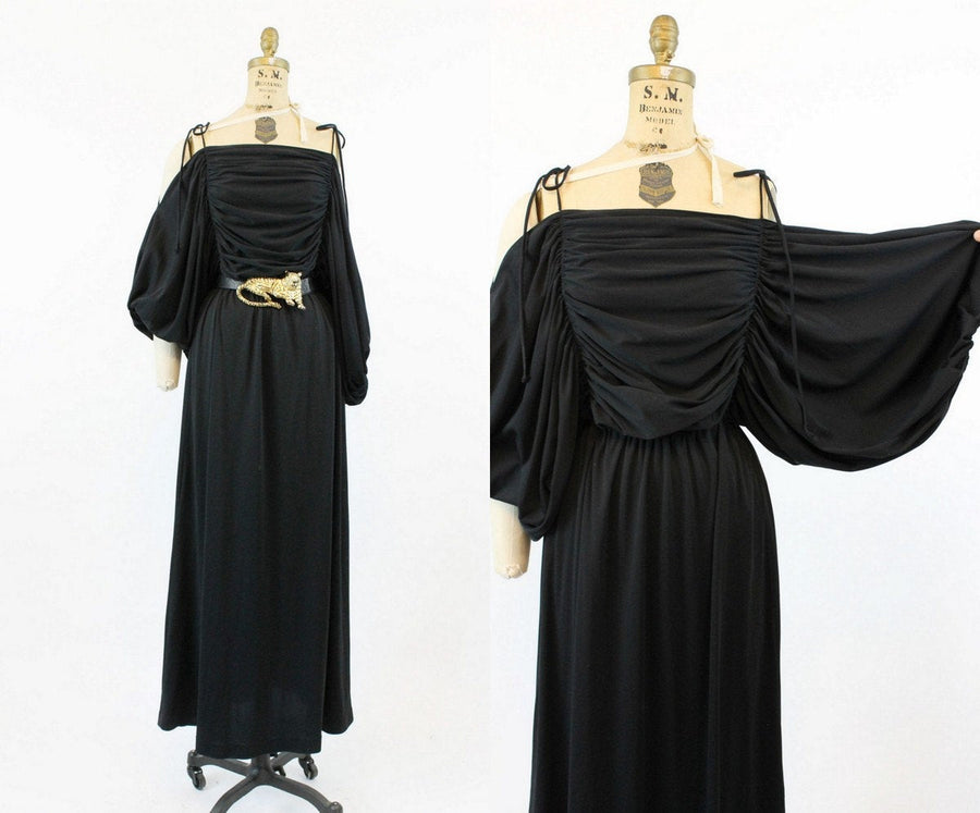 70s Dress Balloon Sleeves Small Medium Large / 1970s Vintage Maxi Dress Cutout Shoulders / Arts District Dress