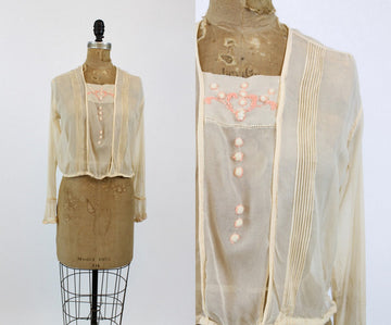 1920s silk embroidered blouse small | vintage chiffon top