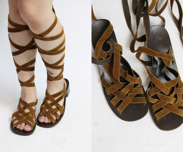 1970s Capezio lace up gladiators size 9.5 us | vintage leather sandals