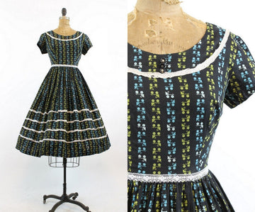 1950s roller skate print novelty dress xs | vintage cotton dress | new in