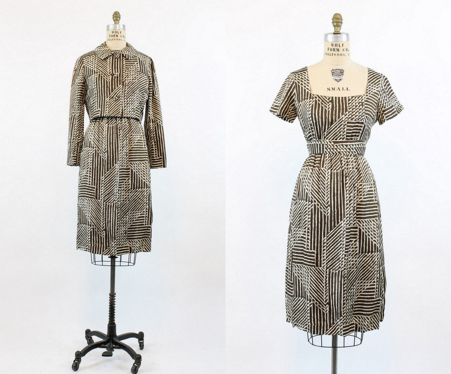 1950s Evelyn Byrnes dress | silk jacket set | medium