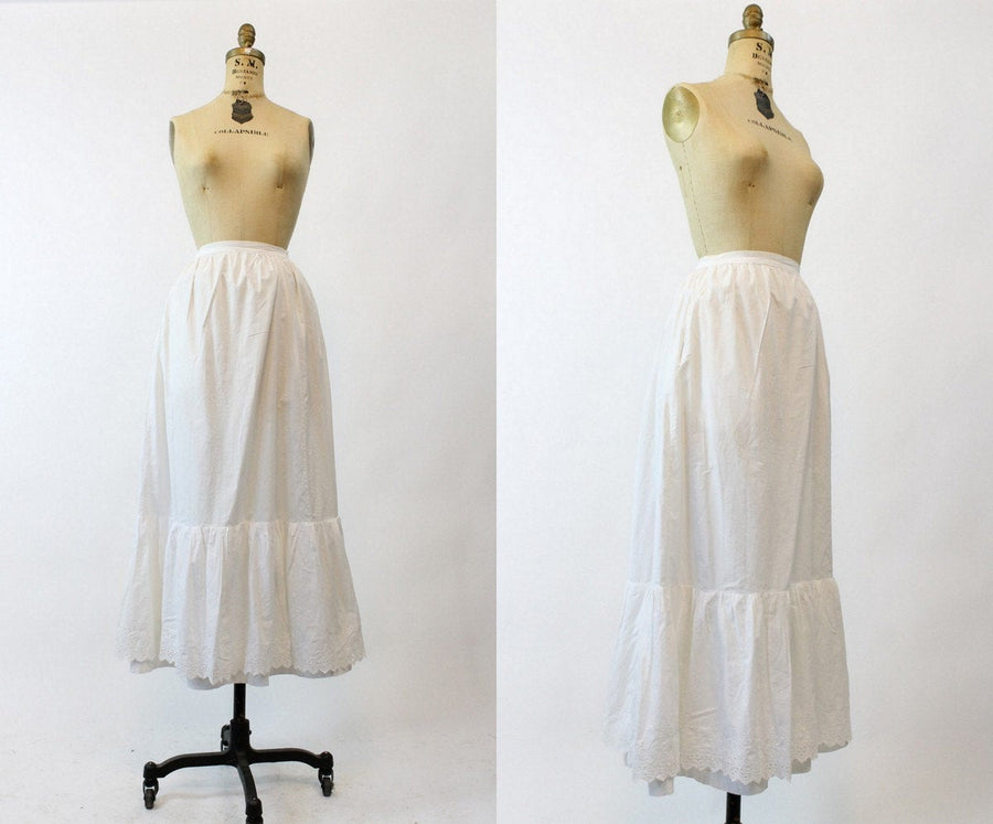 1910s Edwardian Skirt XS/ Antique White Layered Midi Skirt /  Dreaming of Summer Skirt