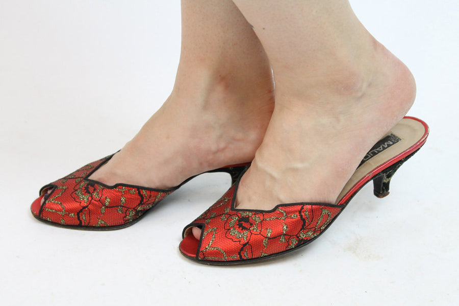 1980s Maud Frizon shoes | lace metallic mules | size 6
