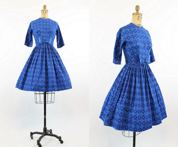 1950s Miss Trude cotton dress xs |  vintage geometric print cotton dress