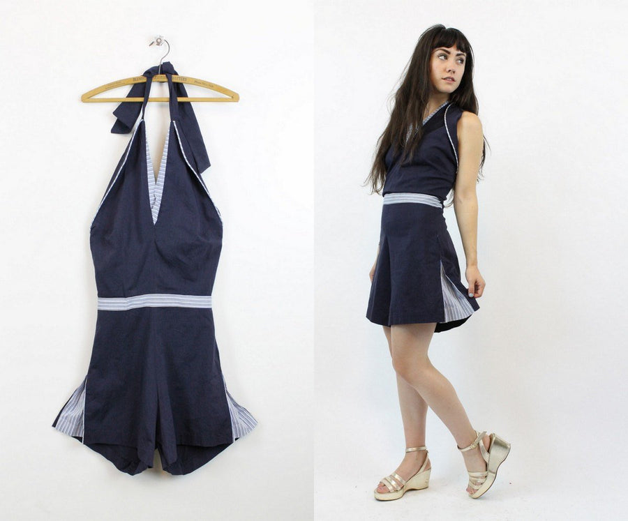 1940s playsuit cotton romper xs | vintage halter