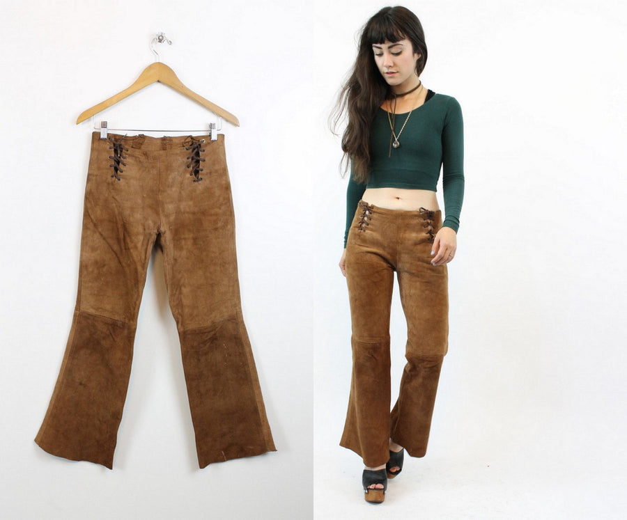 1970s suede lace up pants xs | vintage deerskin bell bottoms