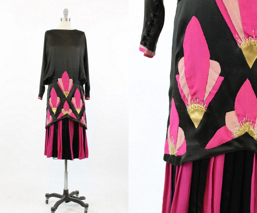 1920s dress leather applique xs small  | 20s vintage silk art deco pattern | new in