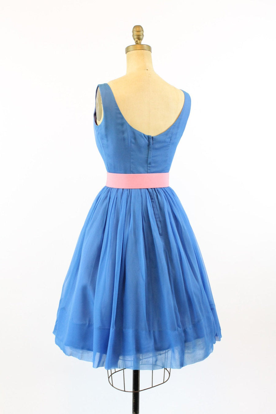 1950s chiffon dress xxs | vintage blue party dress | new in
