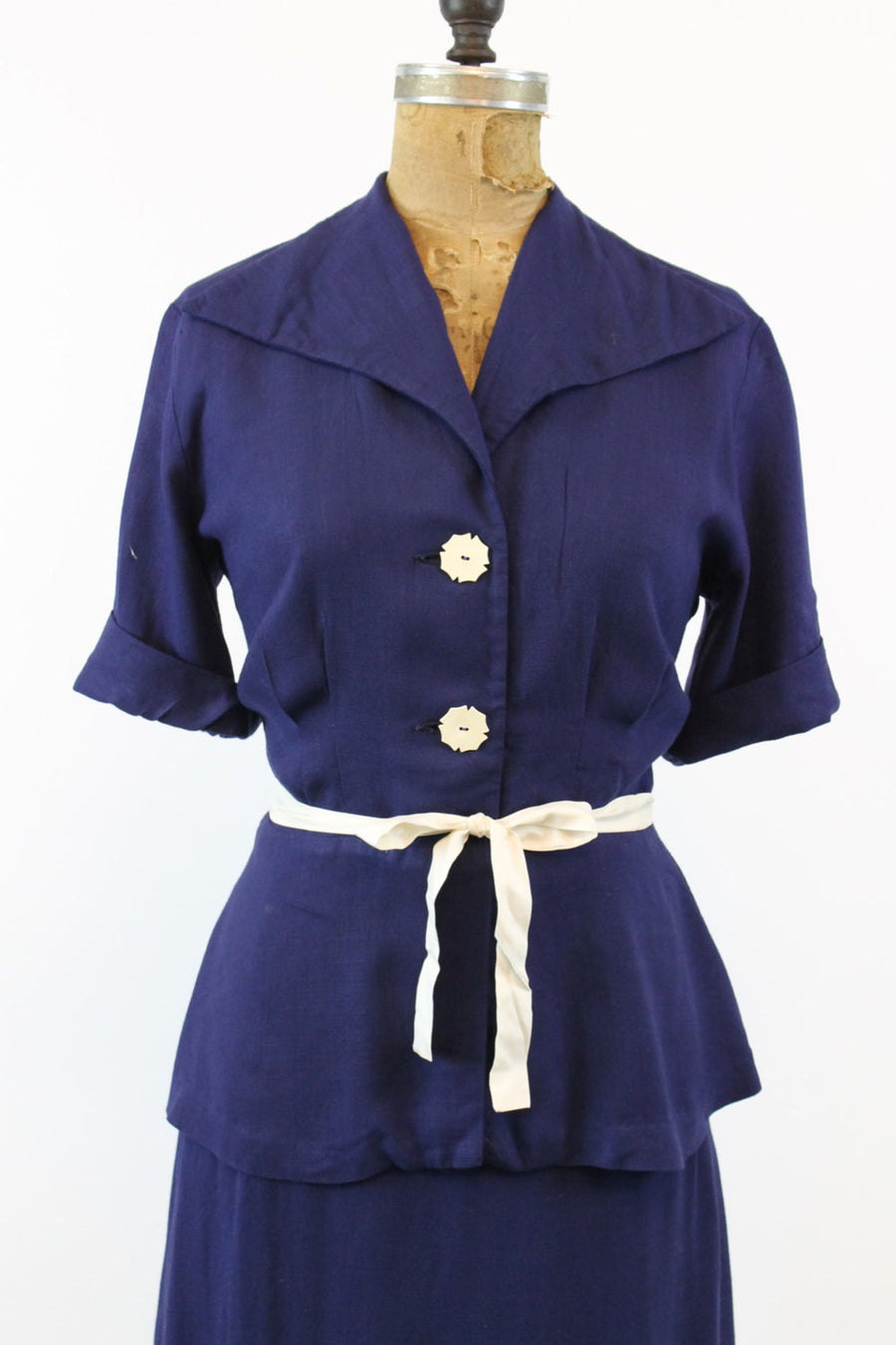 1940s linen rayon suit xs | vintage peplum jacket and skirt