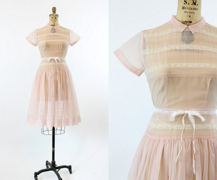 1950s pink lace dress xs | vintage sheer dress