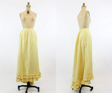 1910s Edwardian Skirt Medium Large / Antique Cotton Yellow Ruffled Maxi Skirt / Sunny Saturday Skirt
