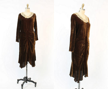 1920s silk velvet dress small | vintage 1930s draped dress