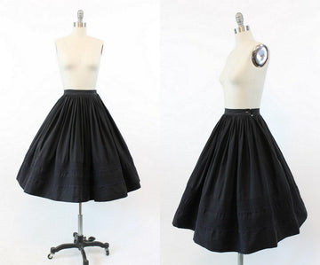 1950s black circle skirt xxs | vintage cotton skirt | new in