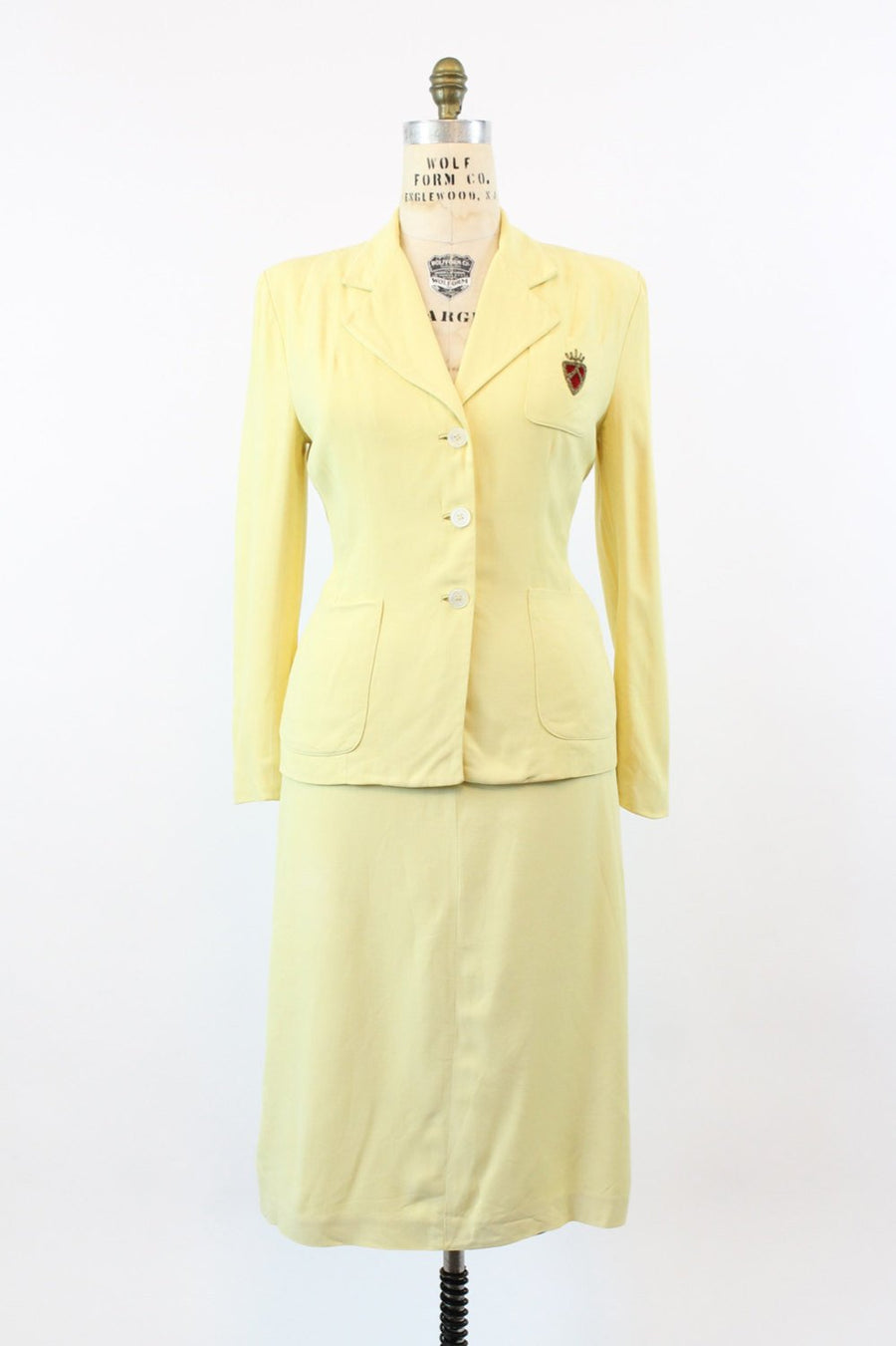 1950s yellow crest gabardine suit medium | vintage 2 piece suit