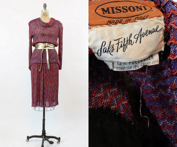 1970s Missoni knit dress small medium | vintage lurex gold sweater and skirt two piece