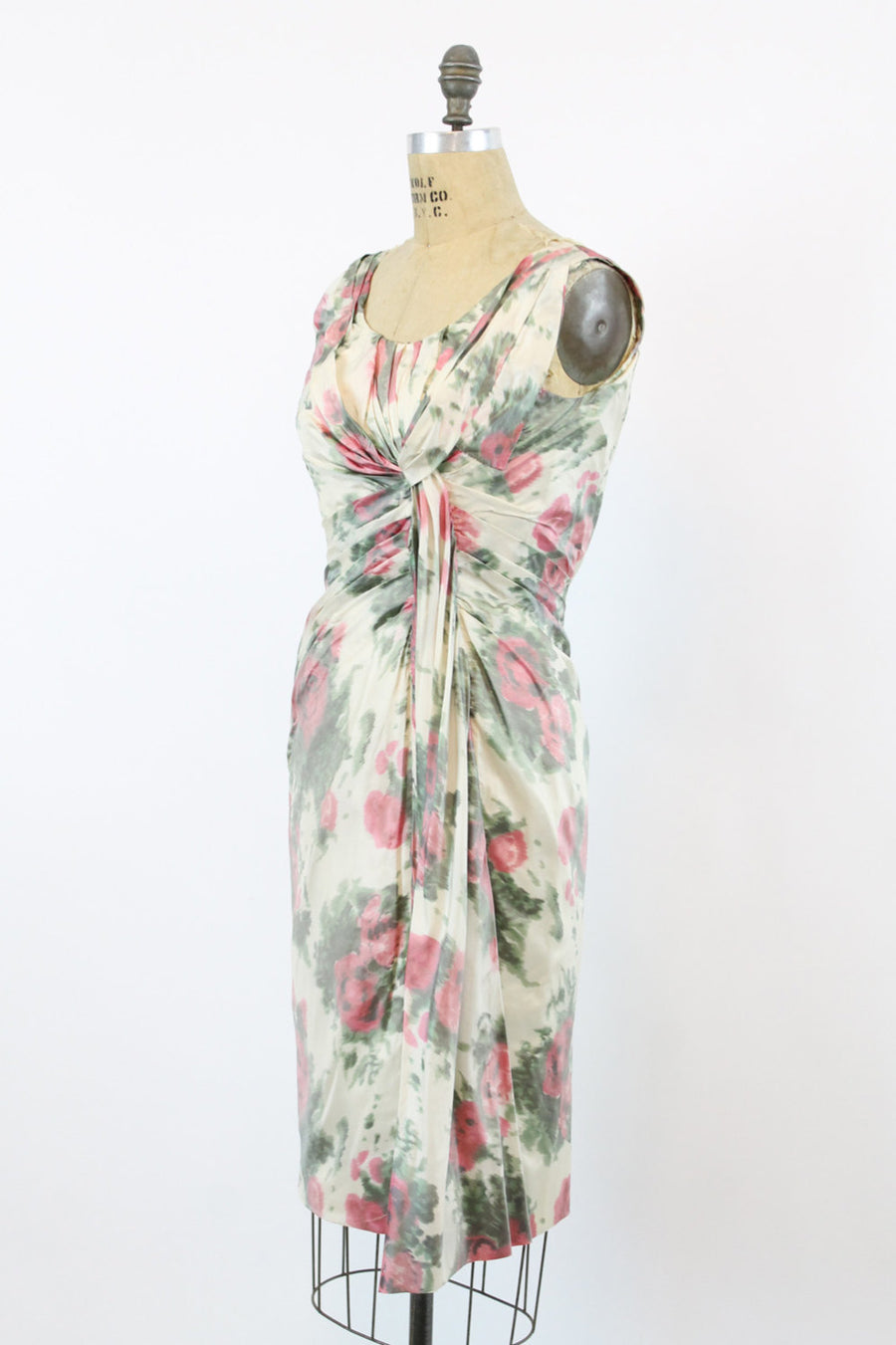 1950s Ceil Chapman rose print dress medium | vintage silk draped dress | new in