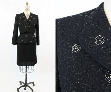 1940s studded suit | vintage bolero jacket peplum skirt | medium