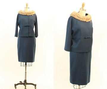 1960s mink collar suit small | vintage skirt and jacket