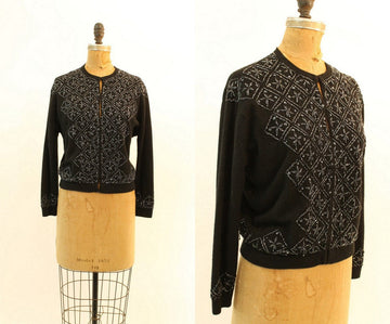 1950s beaded cardigan | vintage wool sweater | medium