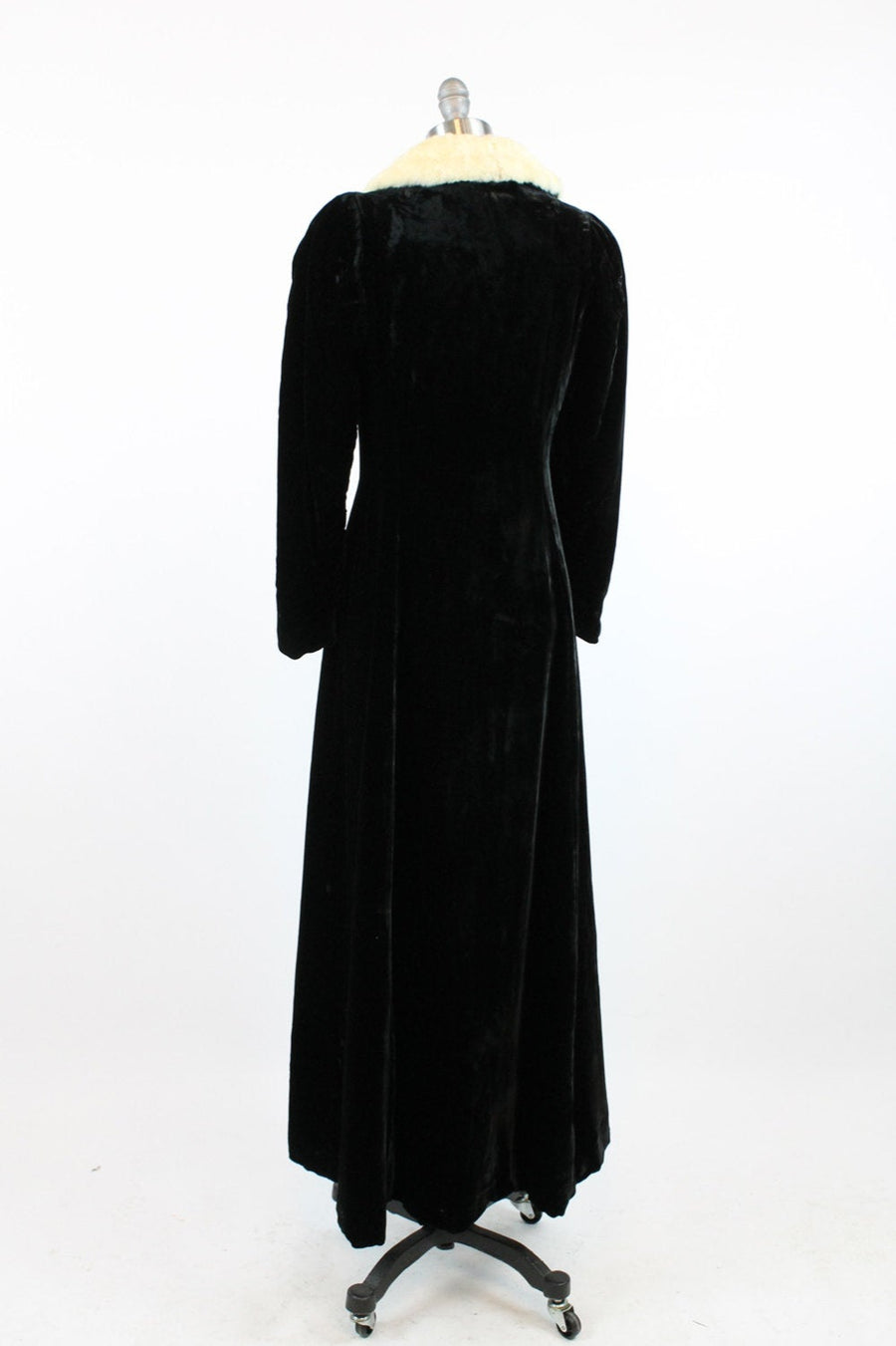 1930s silk velvet long coat xs  | dressing robe ermine fur collar