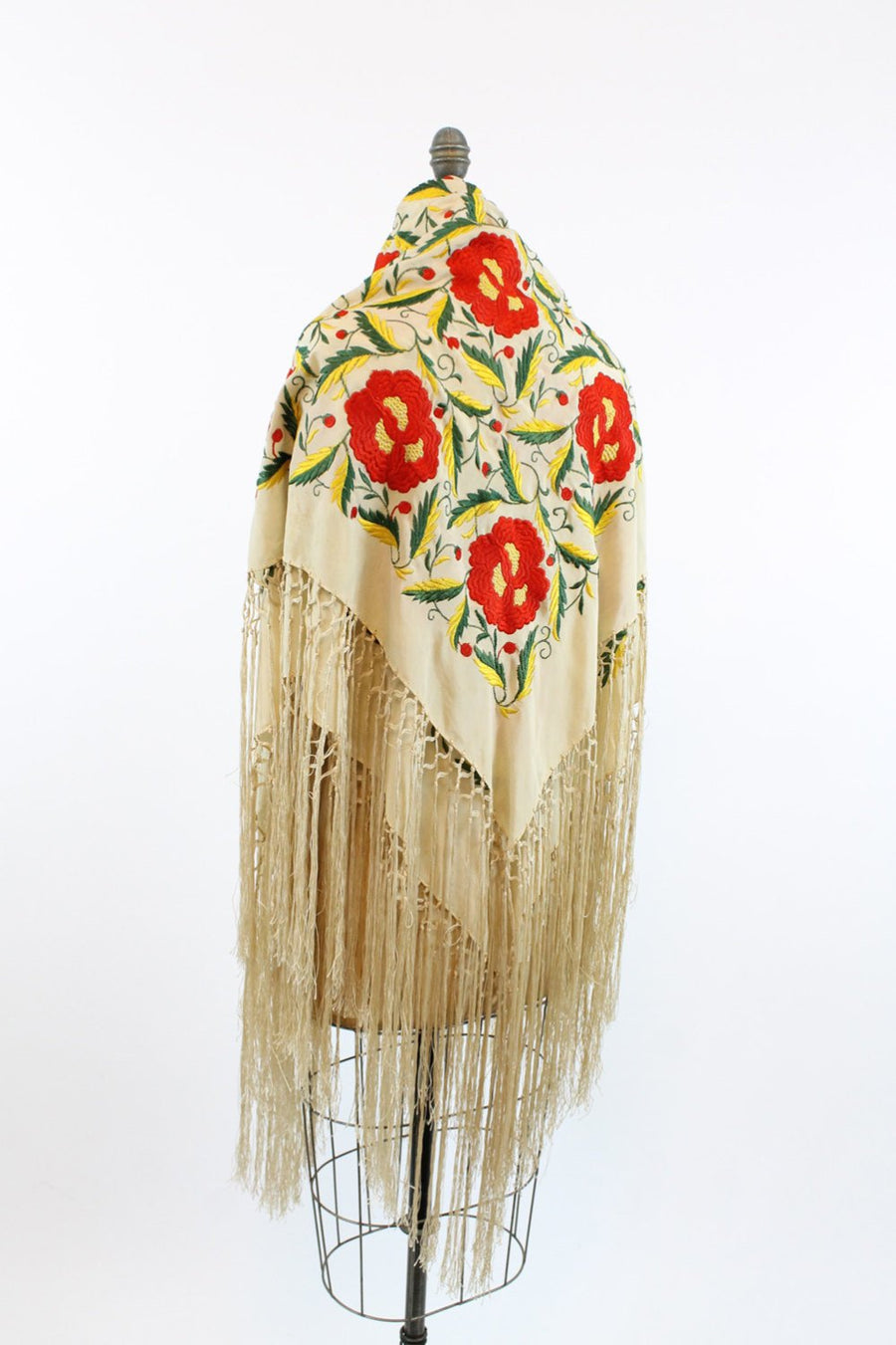 1920s silk piano embroidered floral silk scarf | vintage fringed wrap