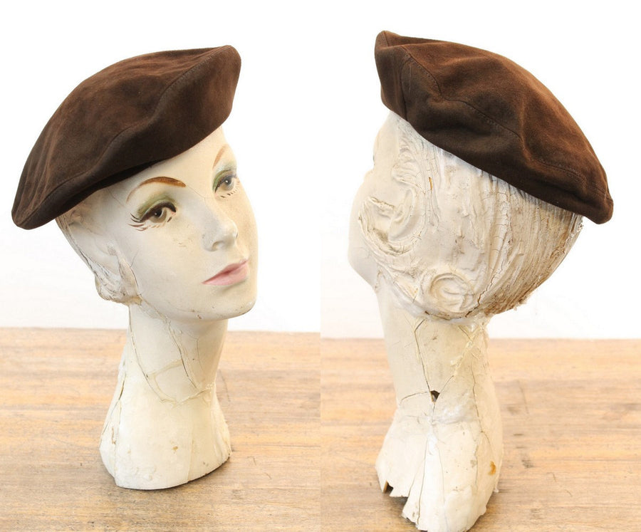 1960s leather beret  | vintage brown suede cap