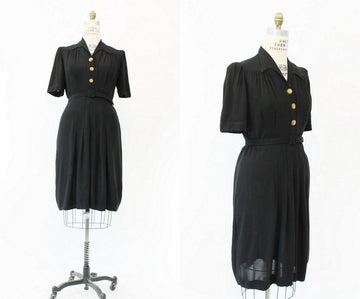 1930s belted rayon dress | large xl volup | vintage puff sleeve dress