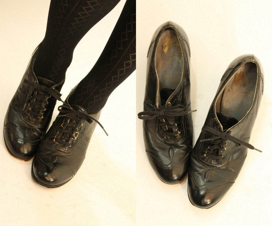1930s oxfords | leather laceup shoes | size 7