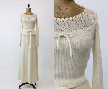1970s knit sweater and skirt | crochet maxi dress | xs
