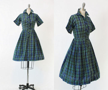 1950s shirtwaist dress xs | vintage morrocan print dress | new in
