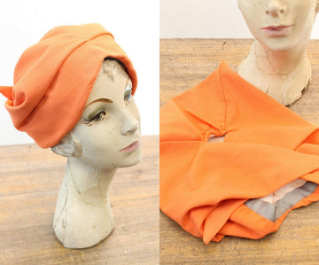 1940s turban hat | vintage 40s wrap style orange hat
